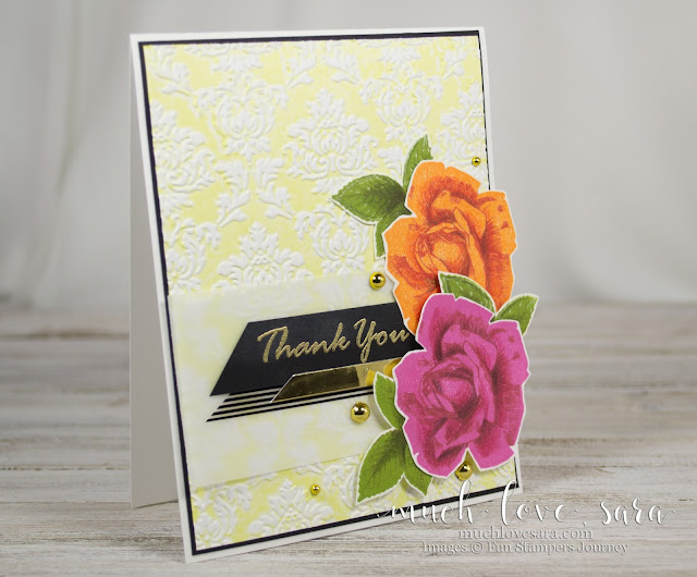 The gorgeous background technique on this card adds a beautiful textile like texture, while creating a backdrop for the handstamped and colored roses. Card was made using Fun Stampers Journey products, to shop, visit funstampersjourney.com/muchlovesara
