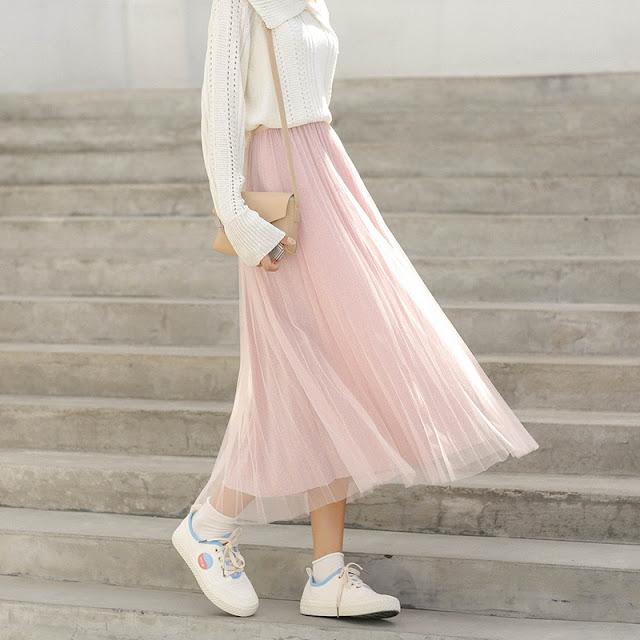 Váy eo cao dáng dài dún chun điệu đàng