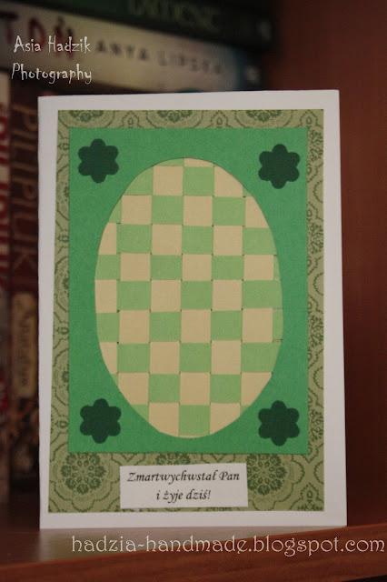 593. Zielona, wielkanocna kartka z przeplatanym jajem;)