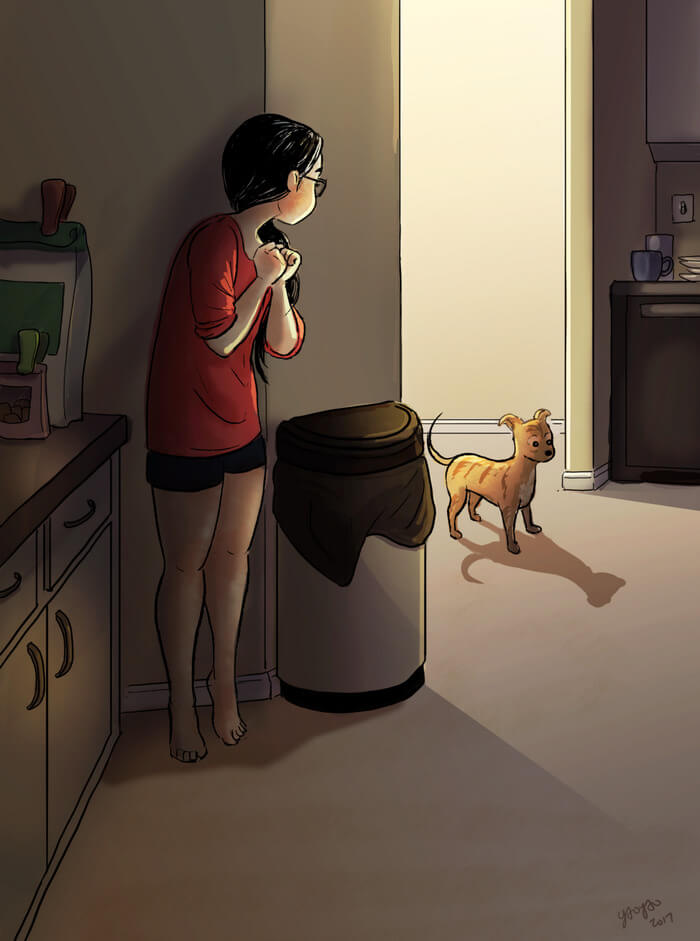 20 Beautiful Illustrations That Show What's Like To Live Alone - Playing With Your Pup