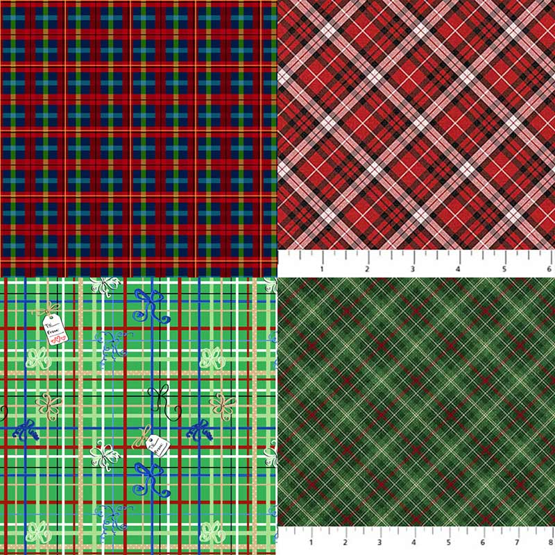 plaid Christmas fabrics releasing in 2020 from QT Fabrics and Northcott Fabrics