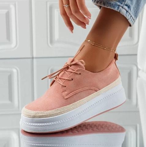 Pantofi casual roz din piel eco intoarsa