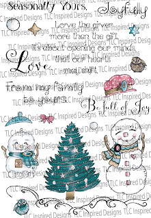 There are sentiment stamps, illustrations and loads of fun to be had with the Snow Family Fun Tree digital stamp set from TLCDesigns.shop