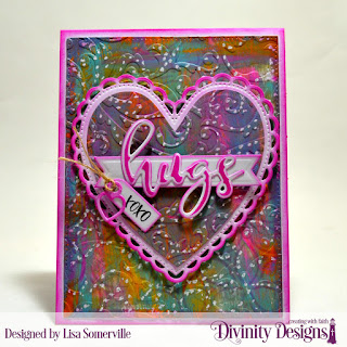 Stamp/Die Duos: Hugs, Stamp Set: Festive Favors Tag Sentiments  Mixed Media Stencils: Petals  Embossing Folder: Flourishes  Custom Dies: Ornate Hearts, Pennant Flags, Pierced Rectangles, Festive Favors