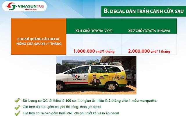 Báo giá dán decal quảng cáo tràn cánh cựa sau Taxi Vinasun