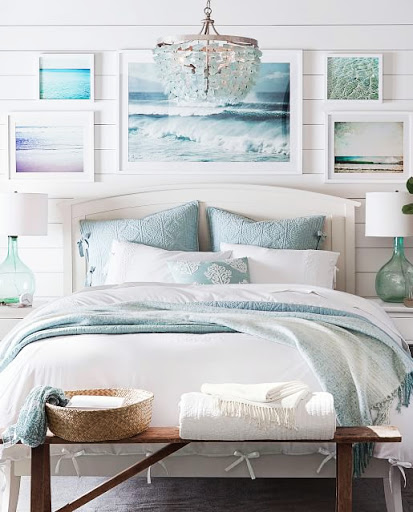 Coastal Bedroom with Sea Glass Chandelier
