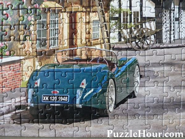Trefl Street Cottage Lane Jigsaw Puzzle detail vintage blue car