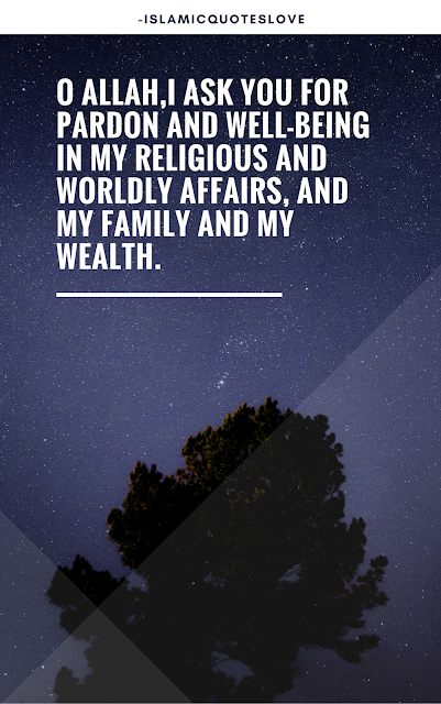 O Allah, I ask you for pardon and well-being in my religious and worldly affairs, and my family and my wealth,