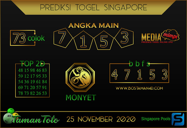 Prediksi Togel SINGAPORE TAMAN TOTO 25 NOVEMBER 2020