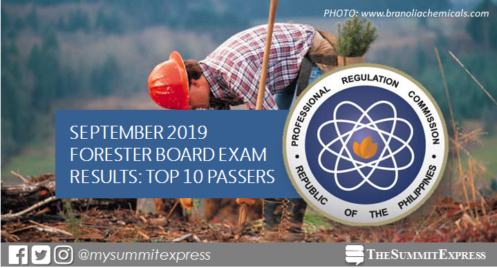 TOP 10 PASSERS: September 2019 Forester board exam result