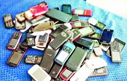 cellphones seized from HS examinees at Rampurhat High School