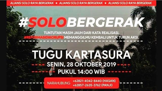 Massa #SoloBergerak Juga Akan Turun Jalan Tagih Perppu KPK Besok
