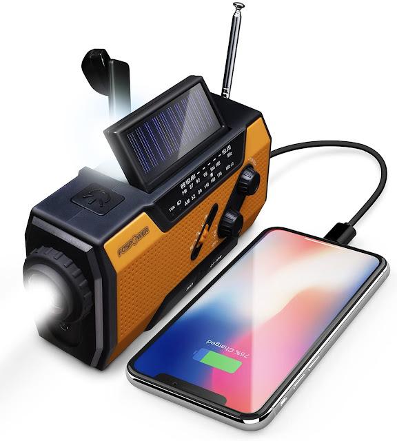 FosPower Emergency Solar Hand Crank Portable Radio - trendingshoppingdeals.com