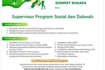Lowongan Kerja Supervisor Program Sosial & Dakwah Dompet Dhuafa