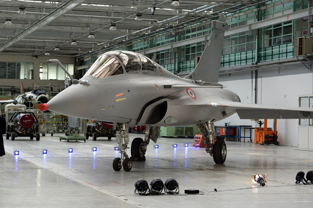 Image Attribute: Rafale with IAF Roundel at  Dassault Aviation's factory in Merignac.