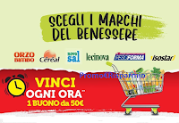 Scegli i Marchi del Benessere e vinci 800 buoni spesa da 50 euro con Cereal, Pesoforma, Novosal, Lecinova,Orzo Bimbo,Isostar