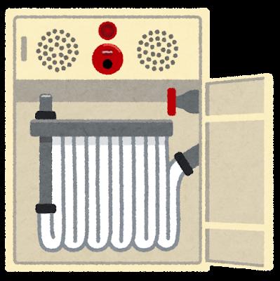 開いた屋内消火栓のイラスト