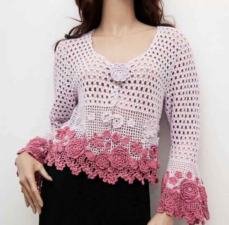 Crochet Cardigan Pattern With Flowers On The Sleeves - Free Step By Step