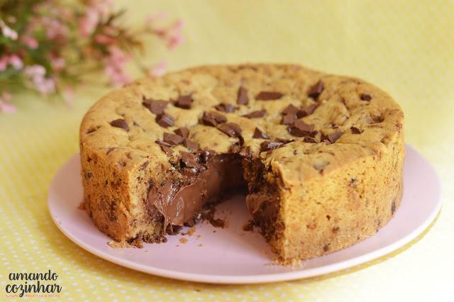 Receita Torta cookie recheada com Nutella