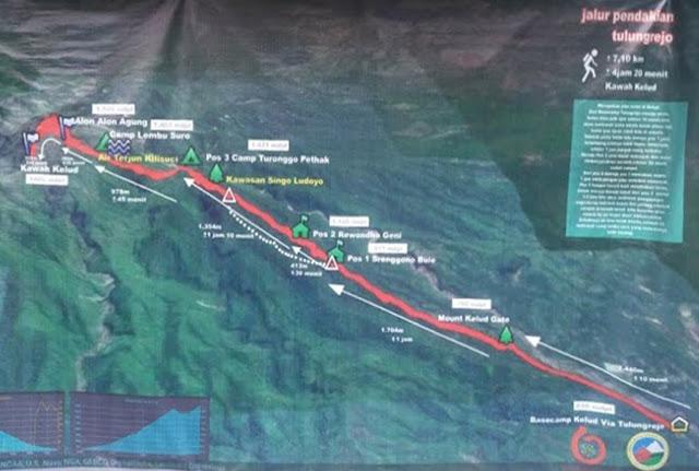 Peta Pendakian Gunung Kelud via Tulungrejo
