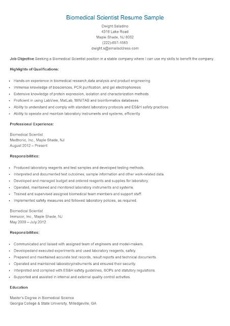 resume samples  biomedical scientist resume sample