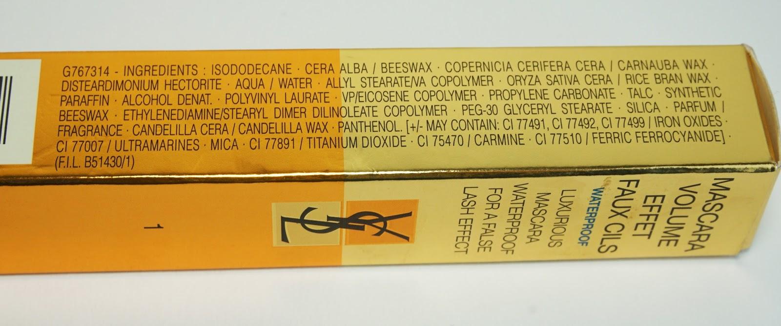 YSL - Mascara Volume Effet Faux Cils (Waterproof) Ingredients