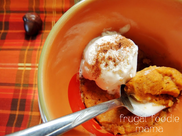 This perfectly portioned for one Pumpkin Spice Mug Cake can be ready in just 4 minutes.