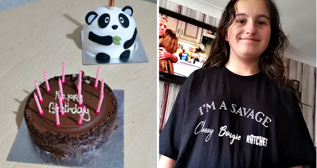 2 birthday cakes. One chocolate and the other in the shape of a panda and my youngest in a new tshirt.