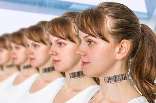 A group of identical young women, each with a bar code on their neck