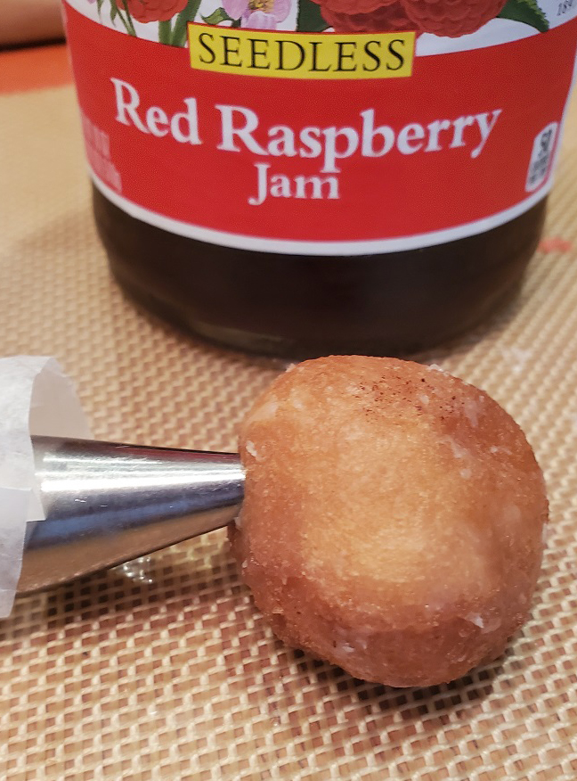donut holes filled with raspberry jam