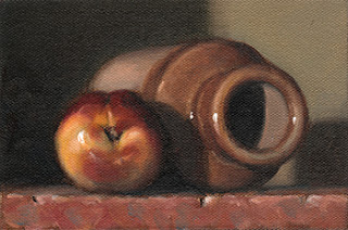 Still life oil painting of a nectarine beside an earthenware jar laid on its side.