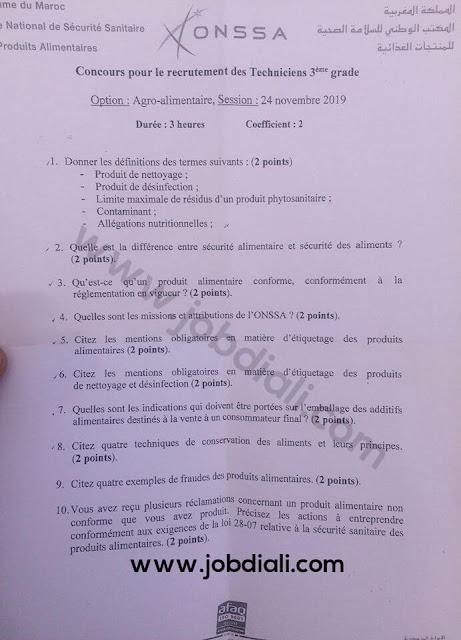 Exemple Concours de Recrutement des techniciens 3ème grade (Agro-alimentaire) 2019 - ONSSA