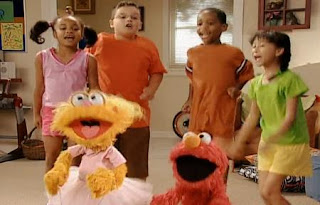 Elmo, Zoe and the kids jumping. Sesame Street Happy Healthy Monsters