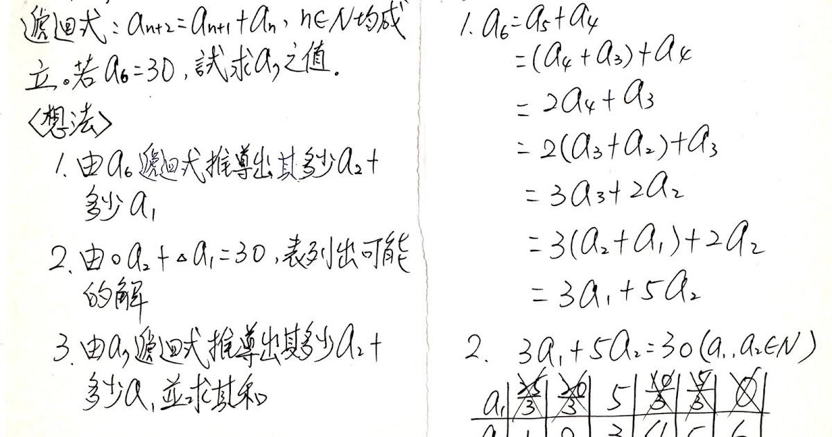 隨筆誌: 1-1數列與數學歸納法(遞迴式表列求解問題)