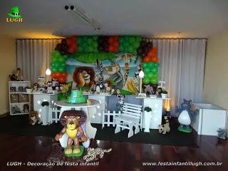 Decoração de aniversário Madagascar - Festa de aniversário infantil