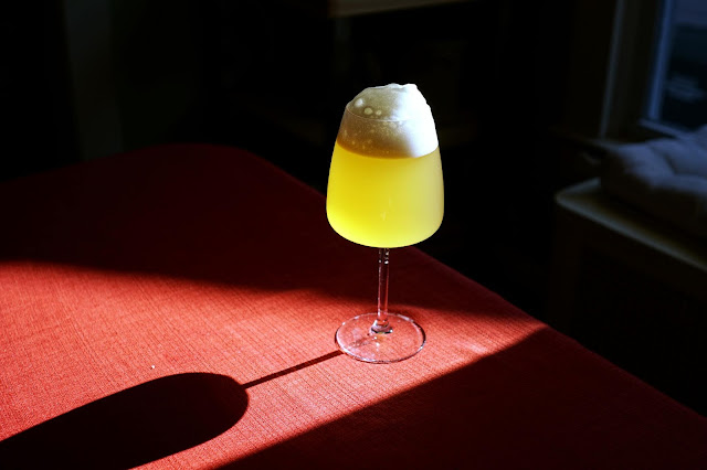The finished Buckwheat Saison with Cashmere hops.