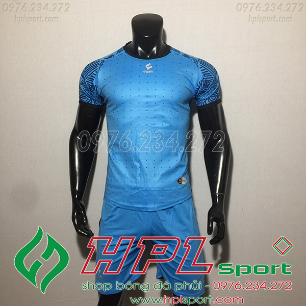 Áo ko logo Egan Atec màu xanh dương