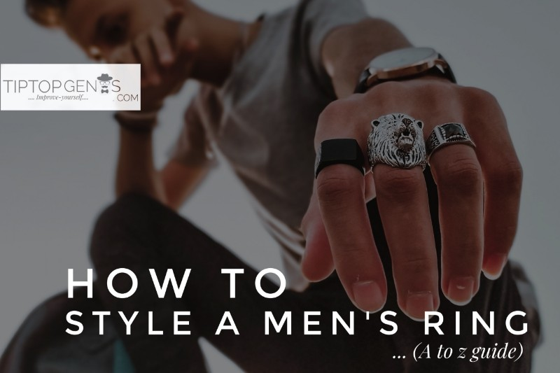A man wearing three different types of men's trending rings.