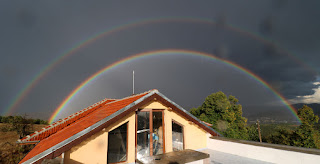 Beautiful double rainbow from the roof terrace