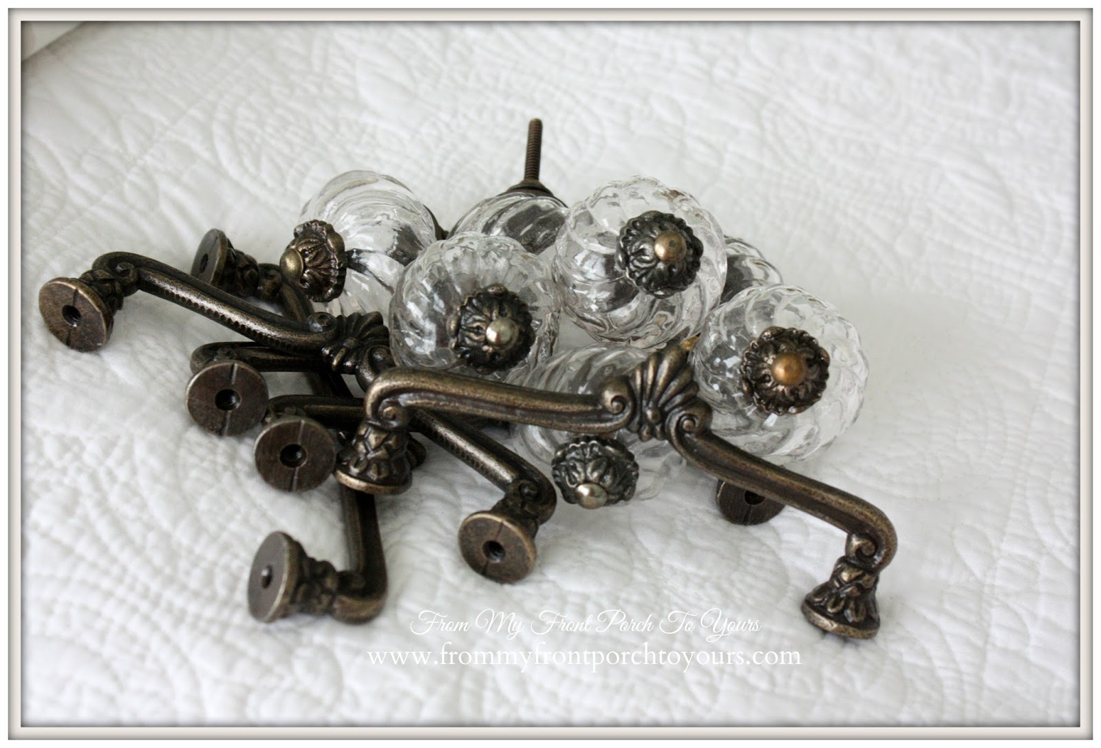 From My Front Porch To Yours- Master Bathroom- Antique Bronze Pulls-Glass Knobs