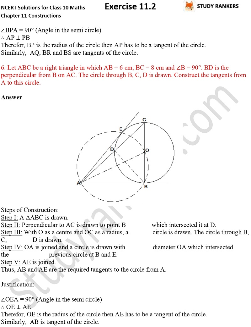 NCERT Solutions for Class 10 Maths Chapter 11 Constructions Exercise 11.2 Part 5