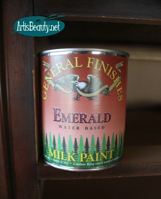 general finishes Emerald green water based milk paint dresser makeover artisbeauty karin chudy