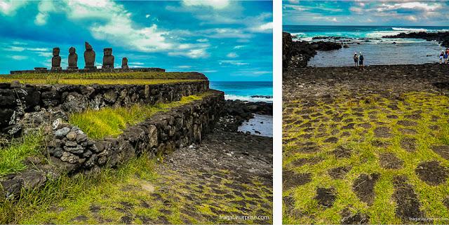 Atracadouro primitivo no Ahu tahai, Ilha de Páscoa