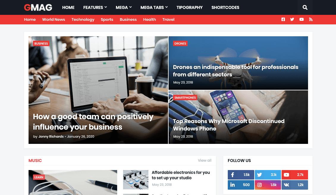 Gmag v1.1.0 - Responsive News & Magazine Blogger Template