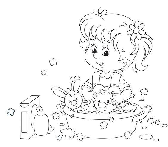 Tranh tô màu em bé tắm cho các bạn búp bê