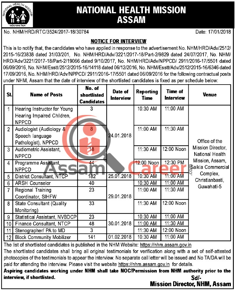 Bank Jobs In India Junior Assistant Posts In National Co: National Health Mission, Assam Interview Notice 2018