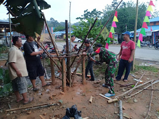 Antusias Warga Bersama Babinsa Jagoi Sambut HUT ke-74 Republik Indonesia