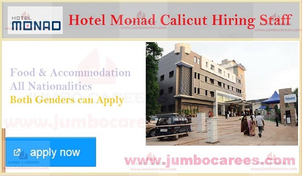 Kerala hotel jobs with food and accommodation, New job openings in Kerala,