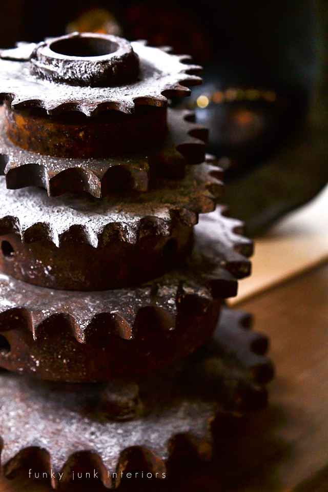 rusty gear creation via Funky Junk Interiors