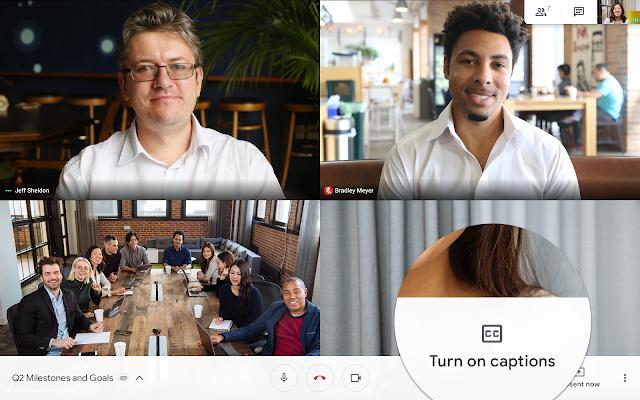 Live captions in Hangouts Meet